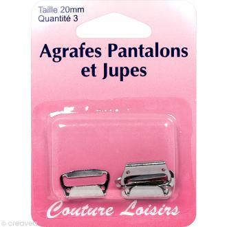 Agrafes grises pour pantalons et jupes - 20 mm - 3 pcs