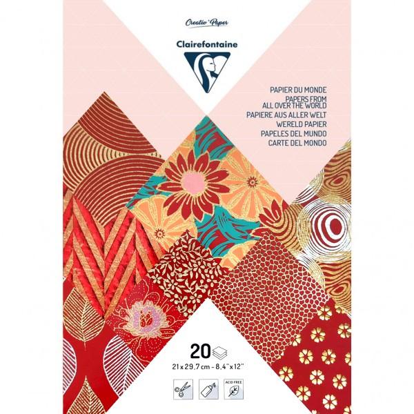Papier du monde A4 20 feuilles rouge - Photo n°1