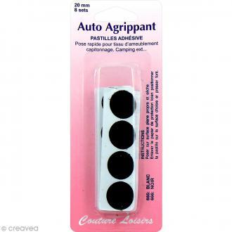 Pastilles adhésives Noir auto agrippant - 20 mm - 8 sets