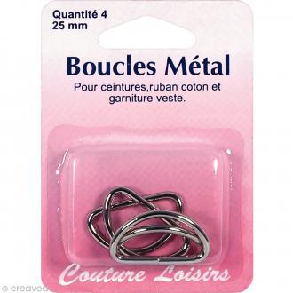 Fermoir boucles en métal 25 mm - 4 pcs