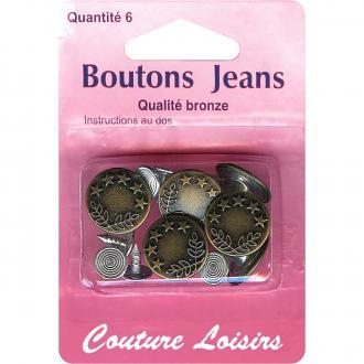 Boutons de jeans ronds 15 mm - Bronze - 6 pcs