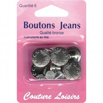 Boutons de jeans ronds 15 mm - Gris argenté - 6 pcs