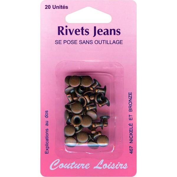 Rivets de jeans 8 mm Bronze - 20 pcs - Photo n°1