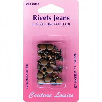 Rivets de jeans 8 mm Bronze - 20 pcs