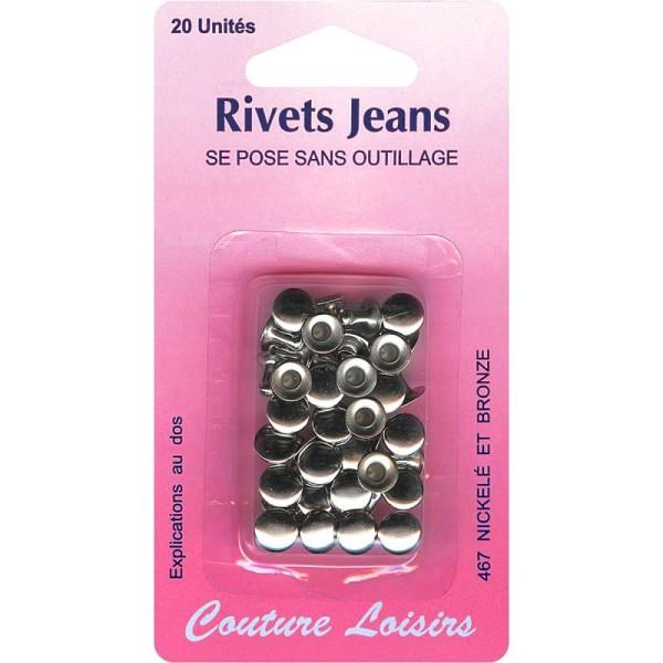 Rivets de jeans 8 mm Gris argenté - 20 pcs - Photo n°1