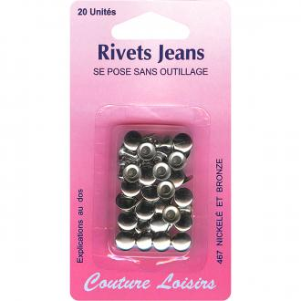 Rivets de jeans 8 mm Gris argenté - 20 pcs