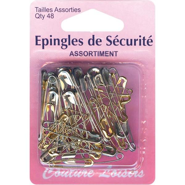 Epingles de sécurité Grises et dorées - 20 à 46 mm - 48 pcs - Photo n°1