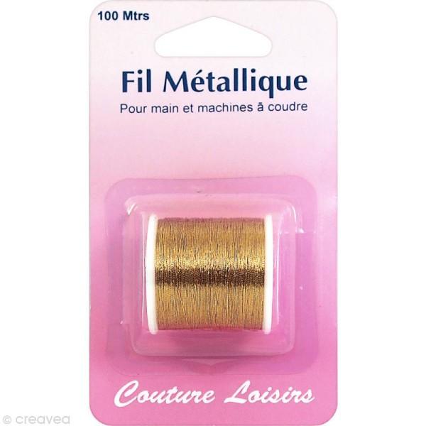 Bobine de fil à coudre métallique doré - 100 mètres - Photo n°1