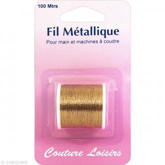 Bobine de fil à coudre métallique doré - 100 mètres