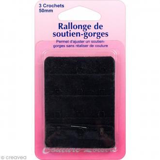 Rallonge de soutien-gorge - Noir - 50 mm - 3 crochets