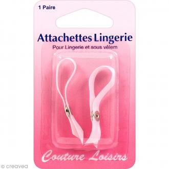 Attachettes de lingerie à fixer - Blanc - 1 paire
