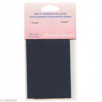 Pièce thermocollante - Bleu marine - 100% coton - 11,5 x 25 cm