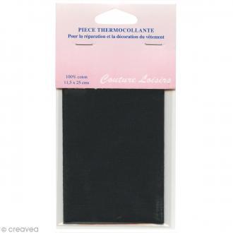 Pièce thermocollante - Noir - 100% coton - 11,5 x 25 cm