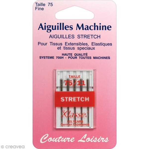 Aiguilles universelles pour machine - Spécial stretch - Taille 75/11 - 5 pcs - Photo n°1