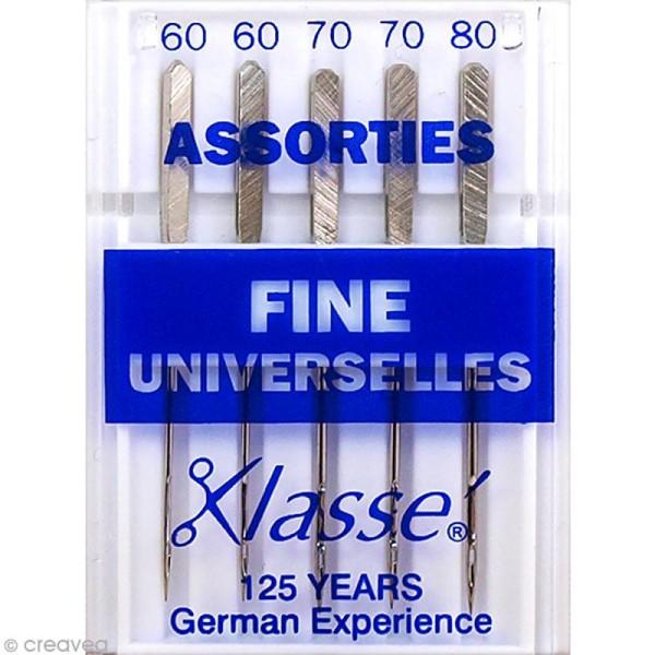 Aiguilles pointes fines pour machine - Acier - Tailles assorties - Universelles - 5 pcs - Photo n°1