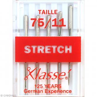 Aiguilles tissus stretch pour machine - Acier - Taille 75/11 - 5 pcs