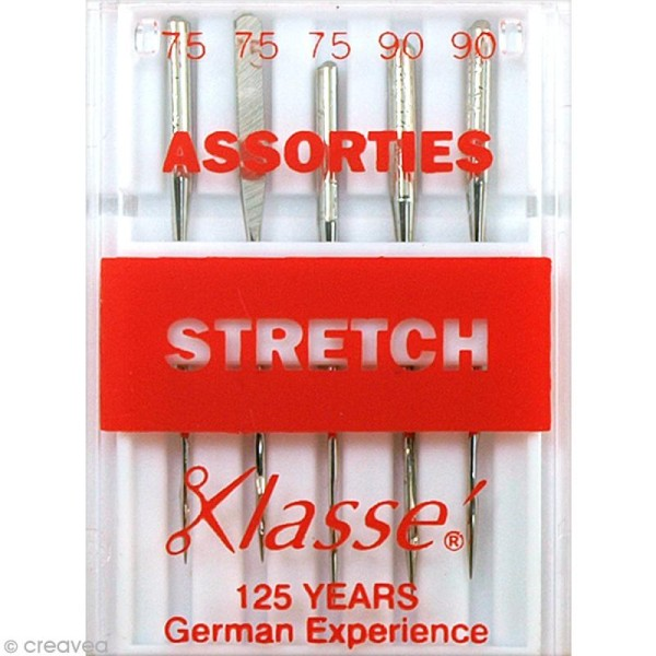 Aiguilles machine tissus stretch - Acier - Tailles assorties - 5 pcs - Photo n°1