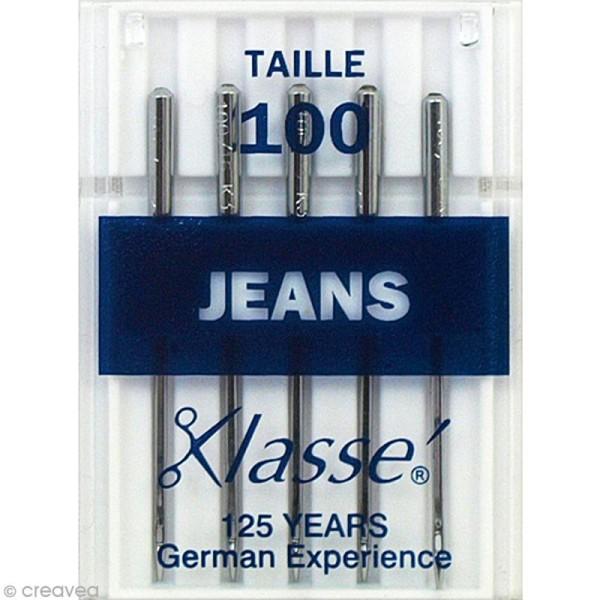 Aiguilles jeans pour machine - Acier - Taille 100 - 5 pcs - Photo n°1