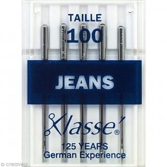 Aiguilles jeans pour machine - Acier - Taille 100 - 5 pcs
