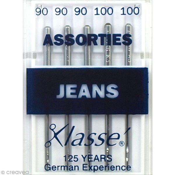 Aiguilles jeans pour machine - Acier - Tailles assorties - 5 pcs - Photo n°1