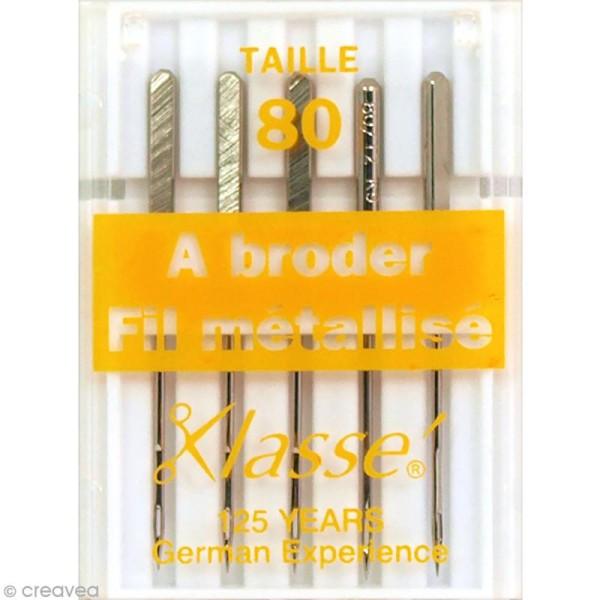Aiguilles machine - Acier - Spécial broderie et fil métallisé - Taille 80 - 5 pcs - Photo n°1