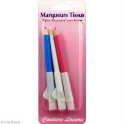 Crayons marqueurs tissus avec brosse - Rose, bleu et blanc - 3 pcs