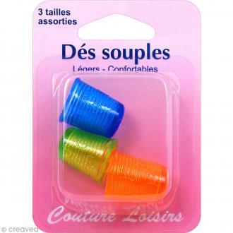 Dés à coudre assortis - Souples - Vert, bleu et orange - 3 pcs