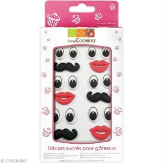 Sucres décoratifs - Yeux, bouches et moustaches - 18 pcs
