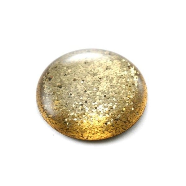 Cabochon rond polaris 12 mm glitter doré - Photo n°1