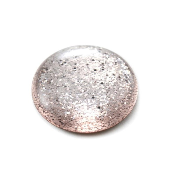 Cabochon rond polaris 12 mm glitter rose vintage - Photo n°1
