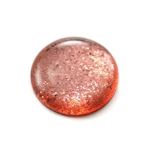 Cabochon rond polaris 12 mm glitter corail - Photo n°1