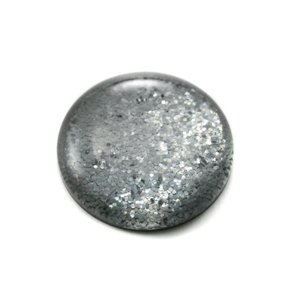 Cabochon rond polaris 24 mm glitter anthracite - Photo n°1