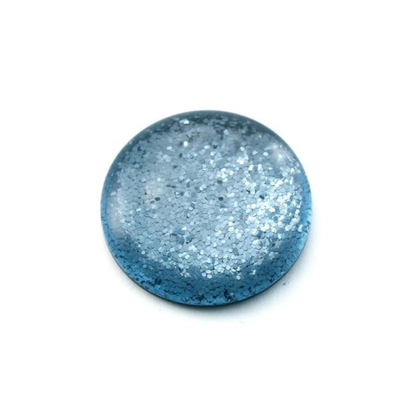 Cabochon rond polaris 24 mm glitter bleu - Photo n°1