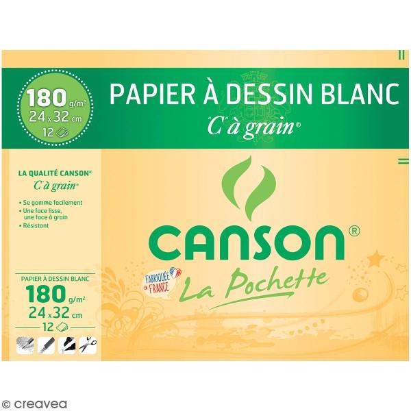 Papier dessin C à grain Canson - 24 x 32 cm - 12 feuilles - Photo n°1
