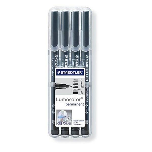 Staedtler 31-9WP4GS Lot de 4 feutres permanents Lumocolor SFMB pour rétroprojecteurs (Noir) - Photo n°1