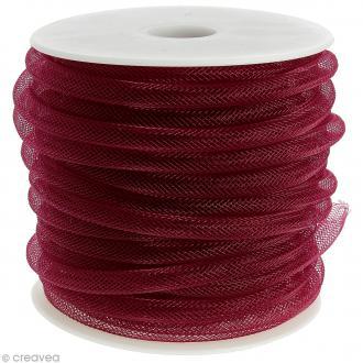 Résille tubulaire 8 mm - Rouge lie de vin - Au mètre (sur mesure)
