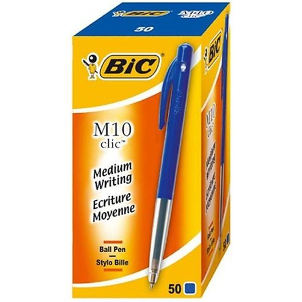 Bic 844345 Lot de 50 stylos à bille rétractable M10 clic à mine de 0,4 mm (Bleu) - Photo n°1