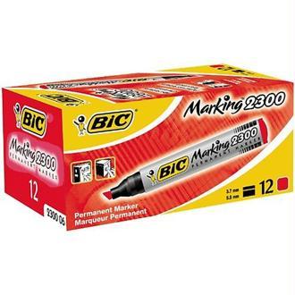 Bic - Marqueur permanent - Pointe biseau - Corps plastique - Encre à base d'alcool Rouge - Lot de 12
