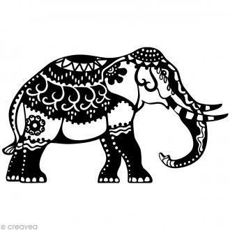Pochoir inversé silhouette - Éléphant indien - A4
