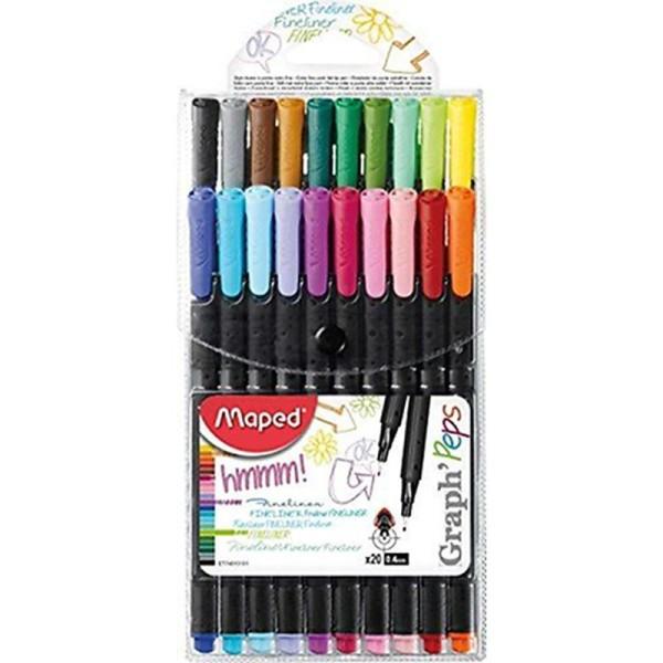 GRAPH'PEPS fijnschrijver 0,4 mm - 20 assorti kleuren - in etui x 20 - Photo n°1