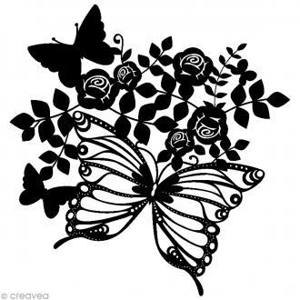 Pochoir inversé silhouette - Papillons et roses - 30 x 30 cm
