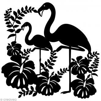Pochoir inversé silhouette - Flamants roses - 30 x 30 cm