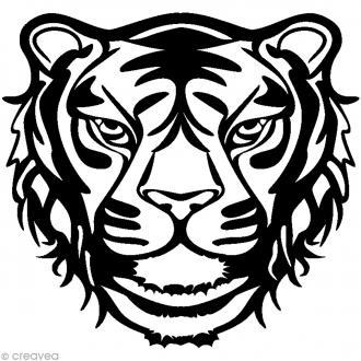 Pochoir inversé silhouette - Tigre - 30 x 30 cm