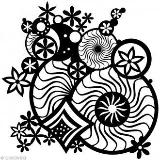 Pochoir inversé silhouette - Rosaces fantaisie - 30 x 30 cm