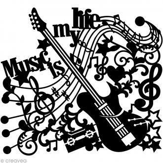 Pochoir inversé silhouette - Musique - 30 x 30 cm