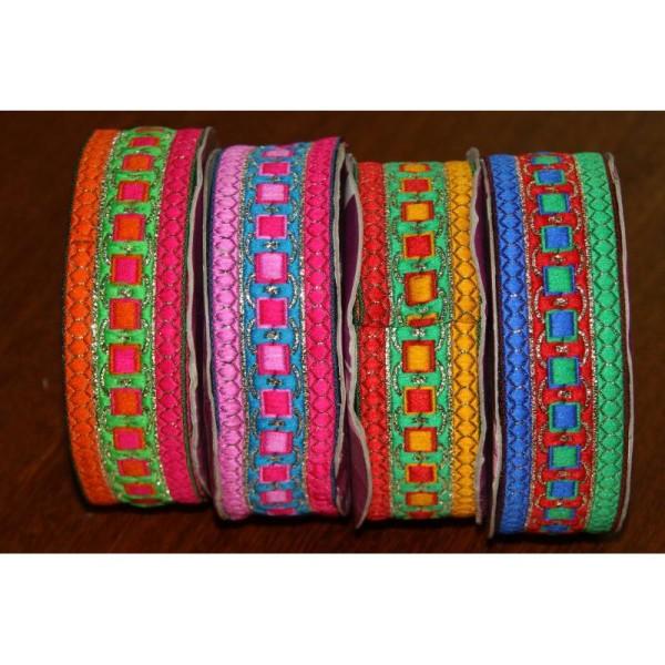 Galon ethnique de 35 mm de large, ruban indien multicolore. - Photo n°2