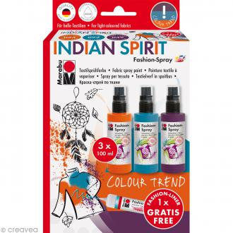 Kit peinture textile Fashion spray - Assortiment Indian Spirit - 3 x 100 ml
