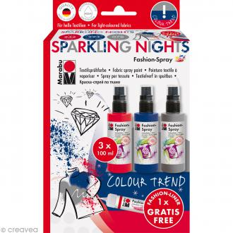 Kit peinture textile Fashion spray - Assortiment Sparkling nights - 3 x 100 ml