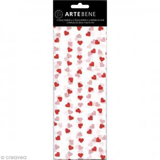Papier de soie Coeurs Blanc et rouge - 50 x 70 cm - 3 pcs