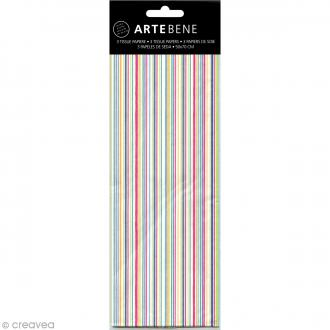 Papier de soie Rayures Multicolore - 50 x 70 cm - 3 pcs